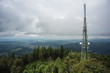 landscape at cloudy day in black forest germany, view from lookout tower hohe moehr.