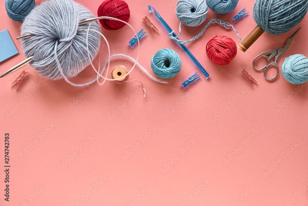 Fototapety, obrazy: Various wool yarn and knitting needles, creative knitting hobby background