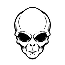 Illustration Of Alien Head Isolated On White. Design Element For Logo, Label, Sign, Poster, Flyer. Vector Illustration