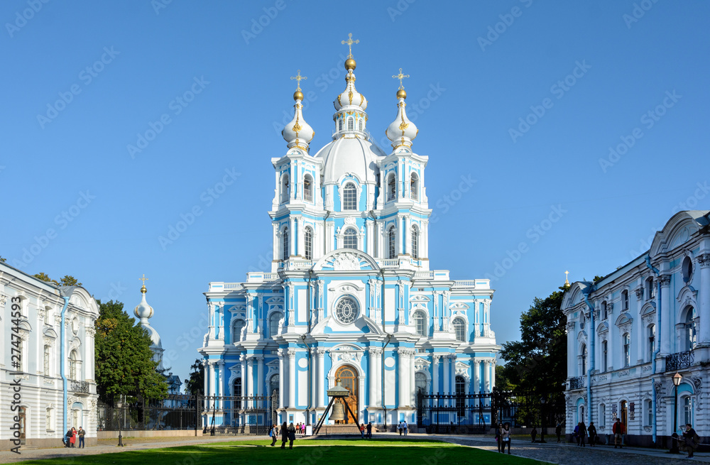 Fototapety, obrazy: View of the Smolny Cathedral from Rastrelli Square. Located in St. Petersburg on the left bank of the Neva on the Smolny Embankment.