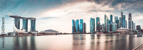 SINGAPORE, SINGAPORE - MARCH 2019: Vibrant panorama background of Singapore skyline at the business bay - 274746779