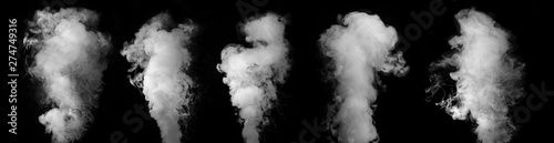 Poster de jardin Fumee Wide design of set of smoke or steam clouds over black background