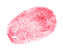 Fingerprint Made With Blood On White Background, Top View