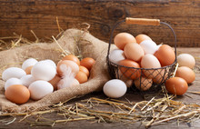 Basket Of Colorful Fresh Eggs ...