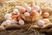 Basket Of Colorful Fresh Eggs