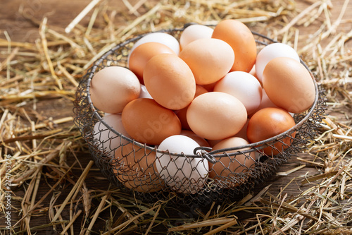 Poster Pays d Europe basket of colorful fresh eggs