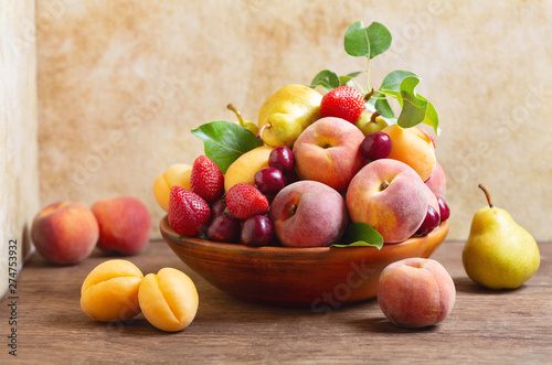 still life with bowl of fresh fruits