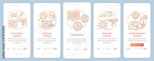 Photo  Targeting types orange gradient onboarding mobile app page screen vector template