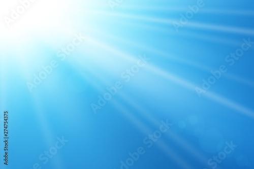 Photo Stands Abstract wave Blue sky sun flare background. Clear summer nature, sunlight weather. Sunshine glare rays, lens. Light sunny spring season. White glow sunrise, sky heaven. Bright sparkle burst. Vector illustration