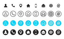 Business Card Contact Information Icons. Business Card Icon Set Of Differents Styles. Thin Line Symbols Set