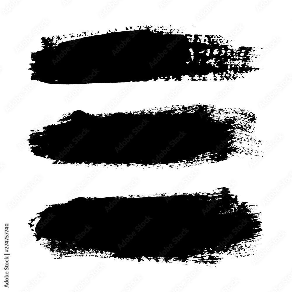 Fototapety, obrazy: Brush strokes set, isolated white background. Black paint brush. Grunge texture stroke line. Art ink dirty design. Border artistic shape, paintbrush element. Brushstroke graphic. Vector illustration