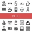 Set of menu icons such as Salsa, Sushi roll, Breakfast tray, Coffee cup, Cold coffee, Pasta, Sandwich, Chef hat, Cup, Waiter, Barista, Account, Meal, French press, Bar , menu