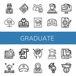 Set of graduate icons such as Student, Mortarboard, Medical certificate, Education, College, Graduate, Cap, Job, Graduation, Learning , graduate