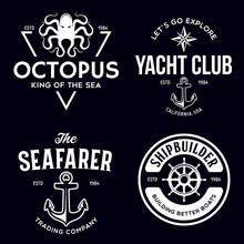 Set Of Sea And Nautical Typogr...