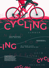 Vector Typographic Cycling Poster Template, With Bycicle, Grunge Textures, And Place For Your Texts.