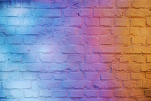 Retro Background. Brick Wall Painted In Bright Gradient Colors