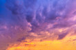 bright clouds of unusual purple colors during sunset