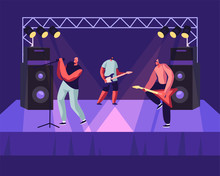 Rock Band Performing Musical Concert On Stage. Electric Guitarists And Singer Stand Near Huge Dynamic On Scene, Artists Playing Music Show, Entertainment, Nightlife. Cartoon Flat Vector Illustration
