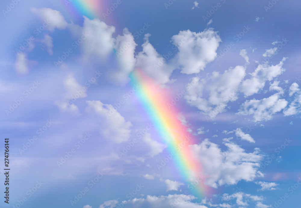 Fototapety, obrazy: Real Rainbow and Sky with Clouds as Background or Texture
