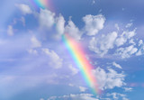 Fototapeta Rainbow - Real Rainbow and Sky with Clouds as Background or Texture