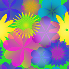 seamless pattern with transparent fantasy flowers on green background