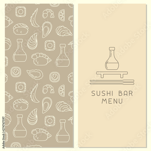 Poster Doodle Brochure decor with Japanese food elements and space for your text