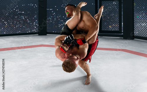 MMA fighters on ring. Fighting Championship. фототапет