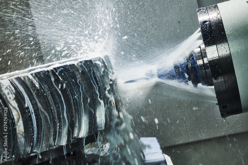 Fototapety, obrazy: CNC milling machine work. Coolant and lubrication in metalwork industry