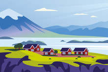 Vector Flat Landscape Minimalistic Illustration Of Wild Nordic Nature View: Sky, Mountains, Water, Cozy Houses On Sea Coast. For Travel Banner, Card, Vacation Touristic Advertising, Brochure, Flayer.