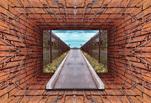 Kaleidoscopic Gradient 3D View Of Old Tunnel With Brick Wall