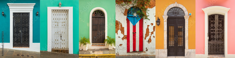Fototapety, obrazy: Collage of colorful door in old San Juan, Puerto Rico