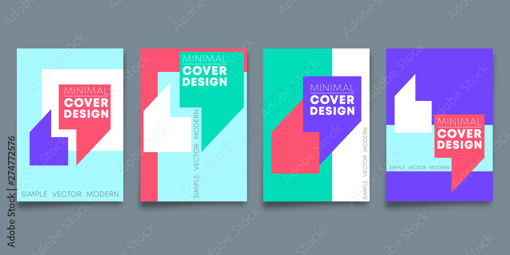 Fototapety, obrazy: Set of minimal design backgrounds design for flyer template, poster, brochure cover, typography or other printing products
