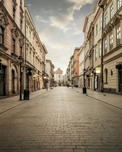 Street Of Old Town In Krakow, Poland