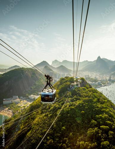 Photo sur Toile Brésil Cable car going to Sugarloaf mountain in Rio de Janeiro, Brazil