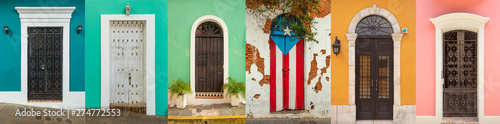 Collage of colorful door in old San Juan, Puerto Rico Wallpaper Mural