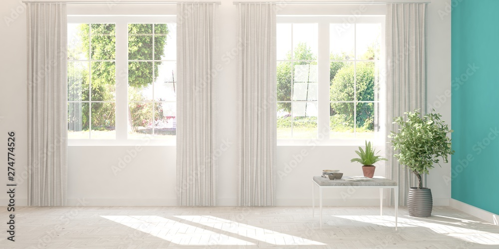 Fototapeta Stylish empty room in white color with summer landscape in window. Scandinavian interior design. 3D illustration