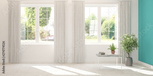Fototapeta Stylish empty room in white color with summer landscape in window. Scandinavian interior design. 3D illustration obraz