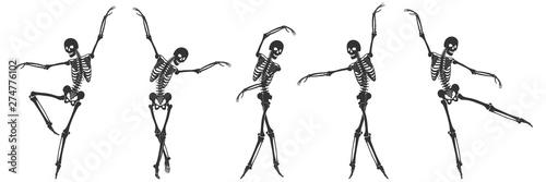 Spoed Fotobehang Halloween Ballet. Five dancing black silhouettes of skeletons isolated on a white background. Vector illustration