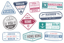 Airport Stamps. Vintage Travel...