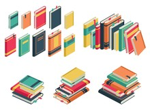 Isometric Book Set. Books Scho...