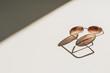 Leinwanddruck Bild - Modern women's sunglasses on white table. Modern minimal fashion blog hero header background.