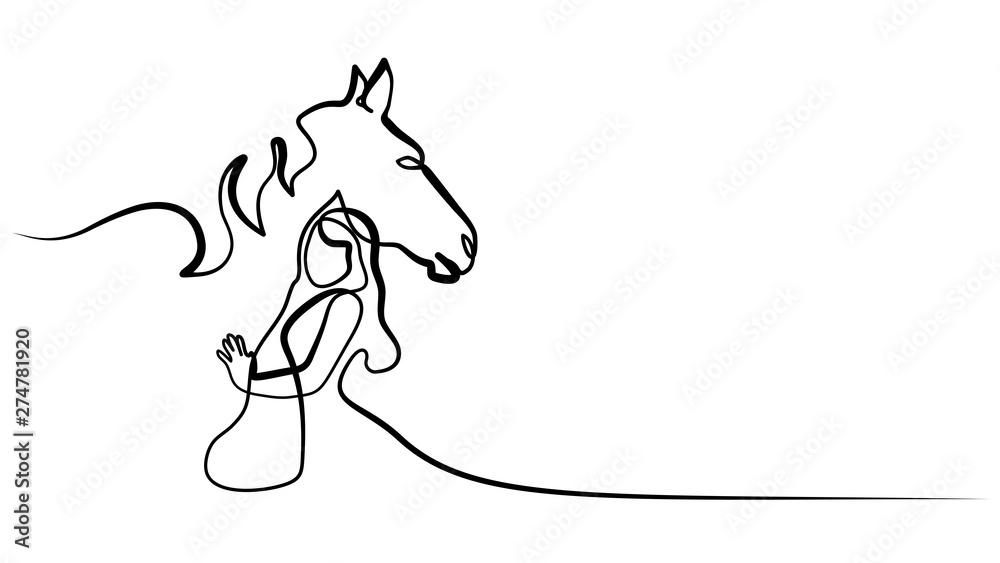 Rysowanie jednej linii. Logo głowy konia i kobiety <span>plik: #274781920 | autor: Valenty</span>