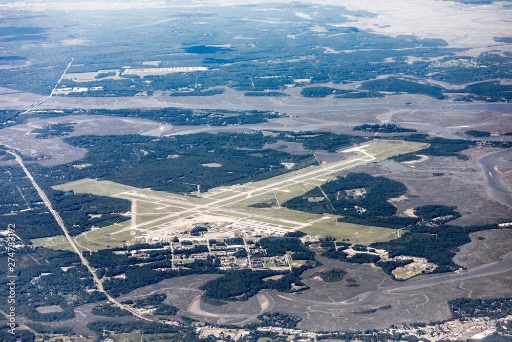Fototapety, obrazy: High angle view of the Marine Corp Air Station and runways in Beaufort, South Carolina.
