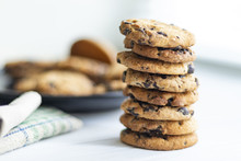 Stack Of Chocolate Chip Cookies On White Background
