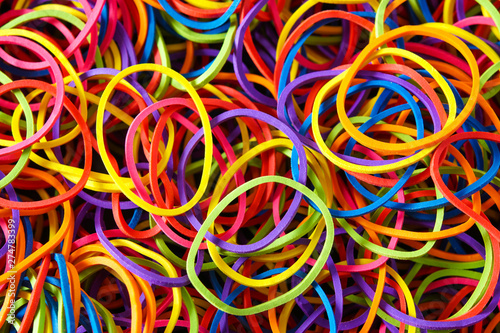 detail of multi colorful rubber band background , top view Wallpaper Mural