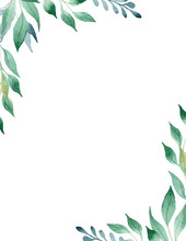 Green Leaves Watercolor Hand D...