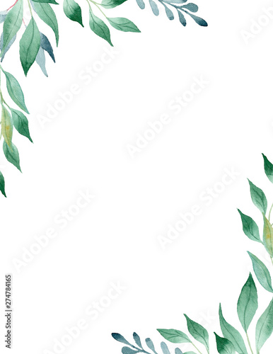 Green leaves watercolor hand drawn raster frame template Wall mural