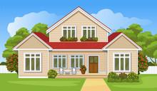 House With A Lawn. Cartoon Sty...