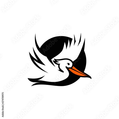 Photo Pelican Bird Logo Abstract Design Vector Template