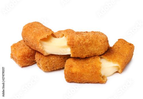 Fototapeta Pile of tasty cheese sticks isolated on white obraz